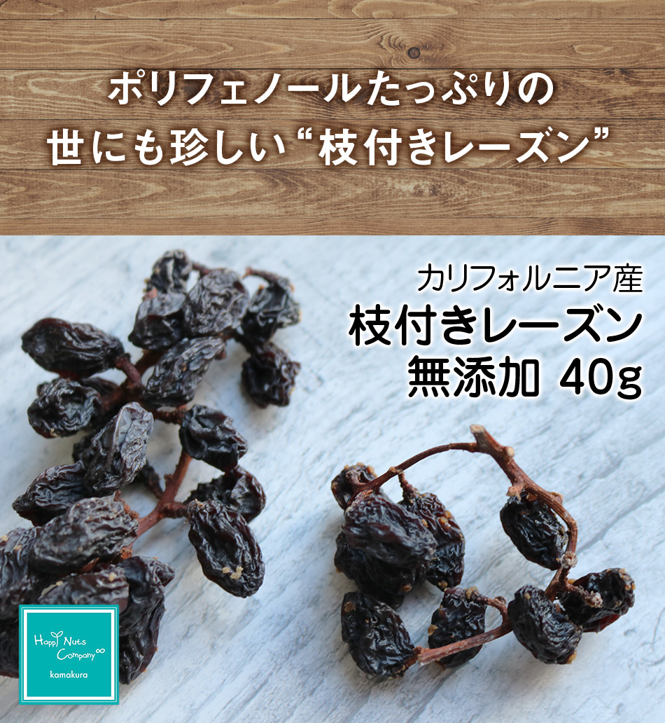 ハッピーナッツカンパニー カリフォルニア産 枝付レーズン 無添加 40g